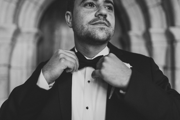 Black and White picture of the groom
