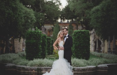 Alana & Max the day of their wedding, a Vizcaya Museum & Gardens wedding