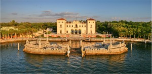 Front of Vizcaya museum venue located in Miami ave took using drone