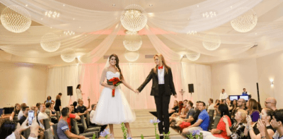 two brides for a bridal show