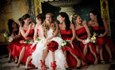 bridesmaids at wedding party